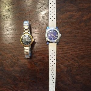 Two neat vintage Art Deco style Timex watches.
